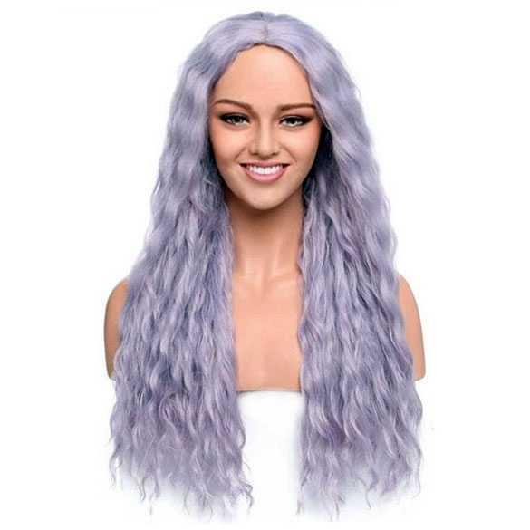 UITVERKOOP : Pruik lang haar met golfjes in lavendel kleur model zonder pony