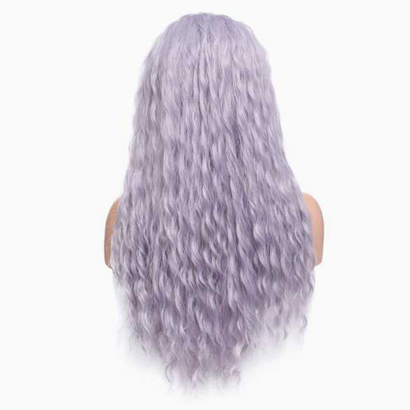 Pruik lang haar met golfjes in lavendel kleur model zonder pony