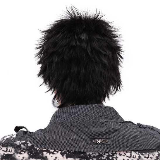 Mannenpruik kort haar funky stekelig kleur zwart