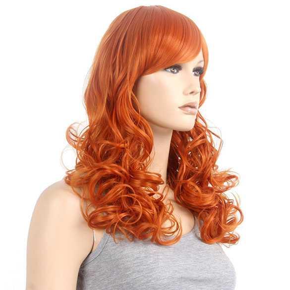 Spectaculaire pompoen oranje pruik lang haar met krullen