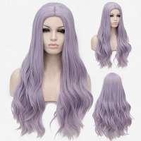 Pruik lang haar met slagen in pastel lavendel mix