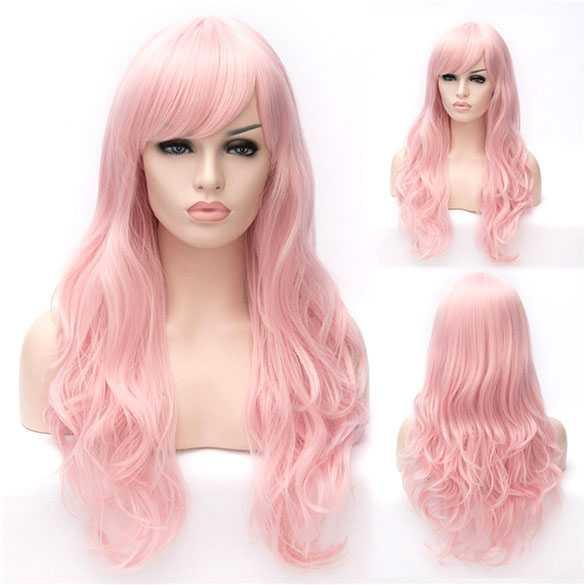 Luxe carnaval pruik lang haar met krullen pastel roze