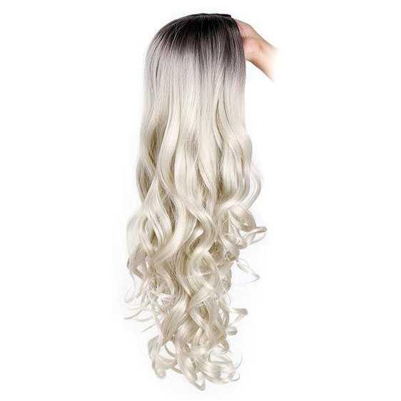 Pruik zilverblond lang krullend haar met donkere roots
