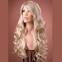 Pruik lang krullend haar blondmix model Broadway F16/22