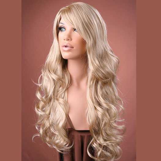Pruik lang krullend haar blondmix model Broadway F16/22