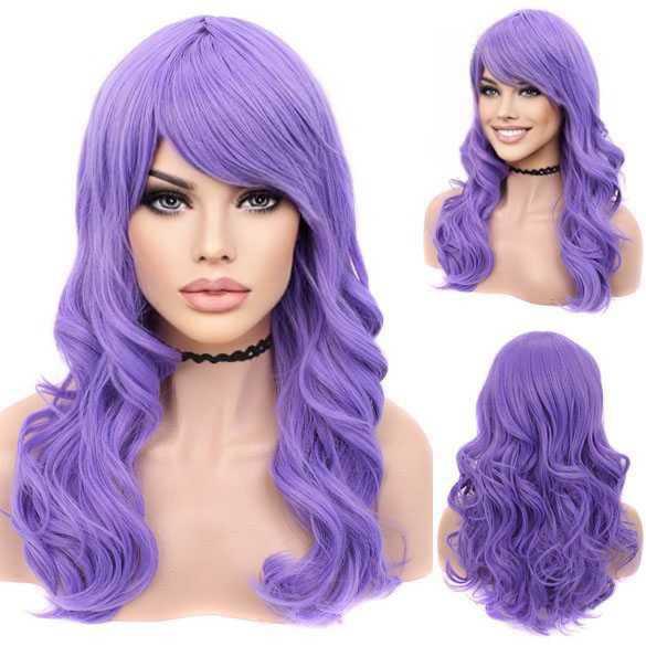 Luxe carnaval pruik lang haar met krullen Violet Purple