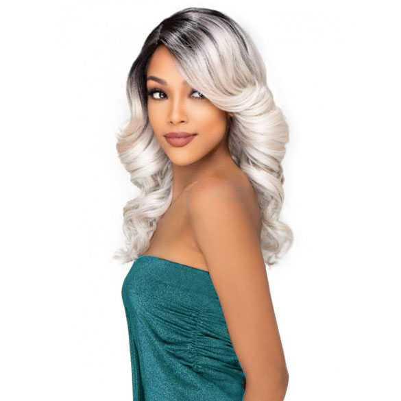 SALE : Ombre pruik zilver lang krullend haar model Evelyn