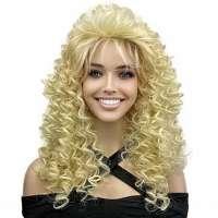 Jaren 80 Dallas Texas kapsel pruik krullend blond haar