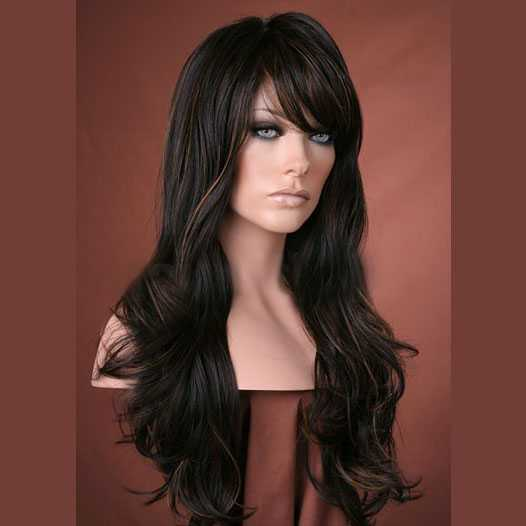 Pruik lang donkerbruin haar model Kristen kleur FS4/27