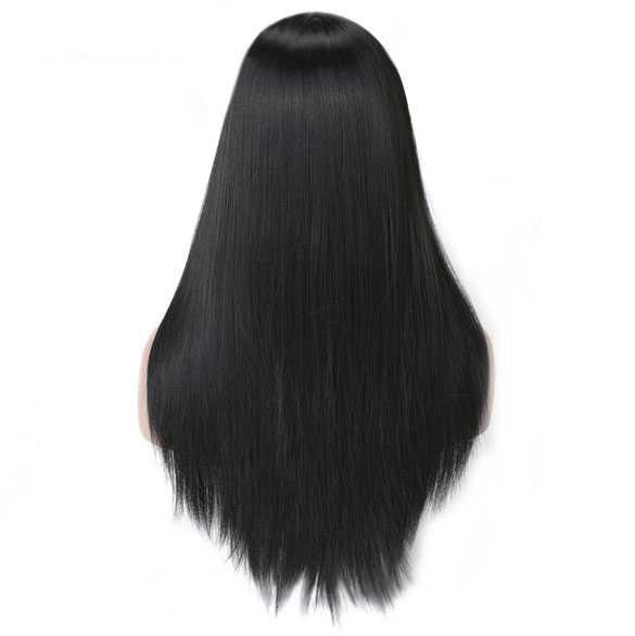 Pruik met lang steil zwart haar zonder pony