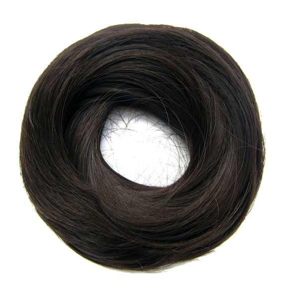 Haar scrunchie steil met elastiek donkerbruin kleur J2