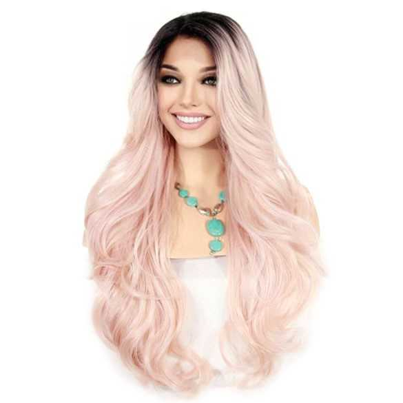 Lace pruik lang haar zonder pony model Kim kleur ROSEGOLD