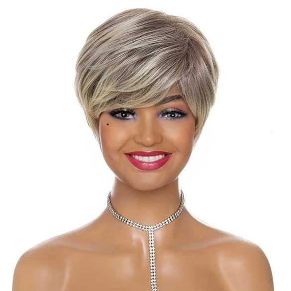 Pruik kort haar in laagjes naturel blond bruinmix model 098