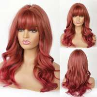 Multi color pruik lang haar met slagen model 248
