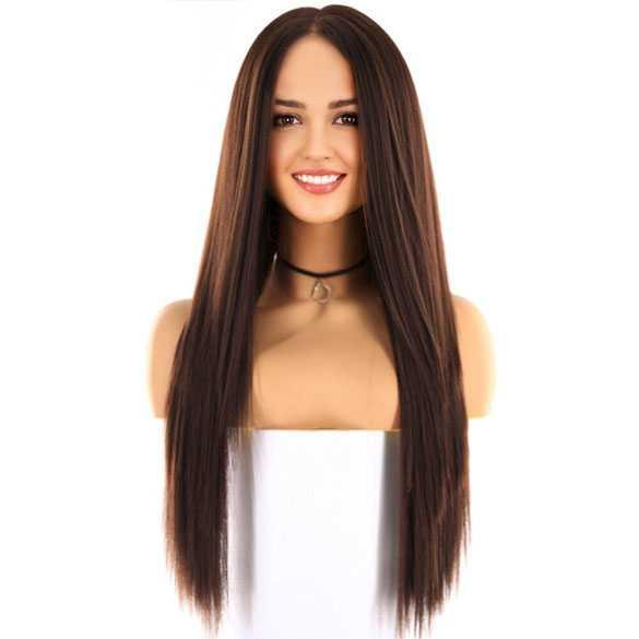 Swiss lace pruik lang steil medium bruin haar model Tabitha