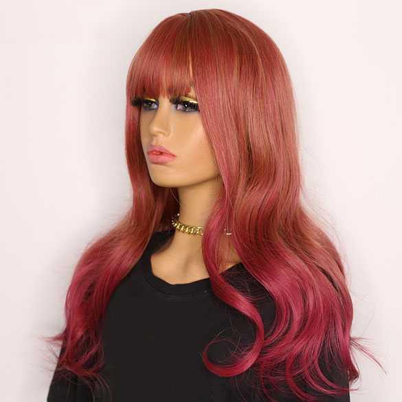 SALE : Multi color pruik lang haar met slagen en pony model 248