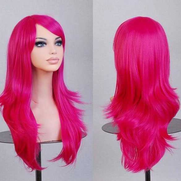 Carnaval pruik Candy Pink lang haar in laagjes