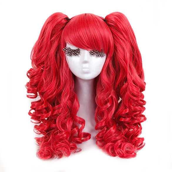 Cosplay pruik rood met 2 staarten op klem