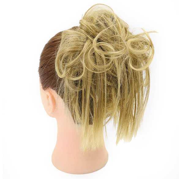 Warrige haar scrunchie met elastiek geelblond mix kleur 86-10