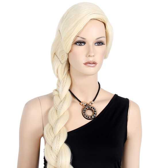 Blonde prinsessen Elsa pruik superlang lichtblond haar met vlecht