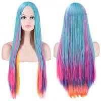 Carnaval pruik lang steil haar in felle kleuren multicolor