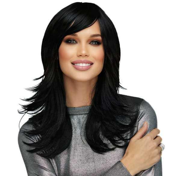 Pruik lang haar razor-cut zwart model Hannah kleur onyx