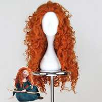 Disney prinses Merida pruik rood lang haar met volle krullen