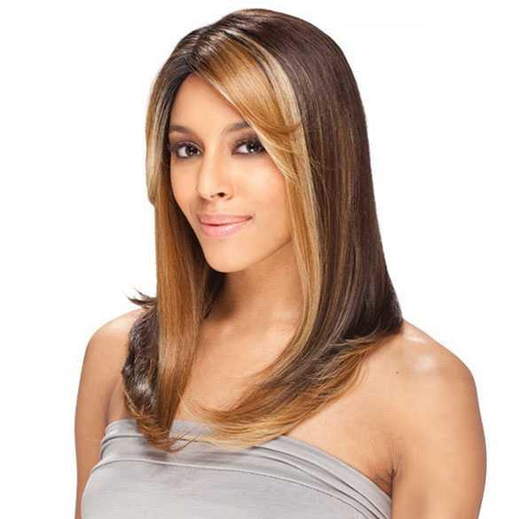 Lace pruik steil haar opvallende kleurstrengen model Nelly