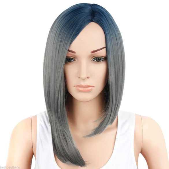 SALE : Ombre pruik blauw grijs steil haar zonder pony