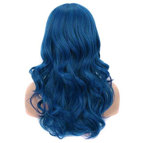 Luxe carnaval pruik lang haar met krullen Ocean Blue