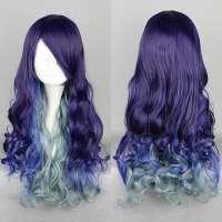 Tri color pruik lang haar met krullen