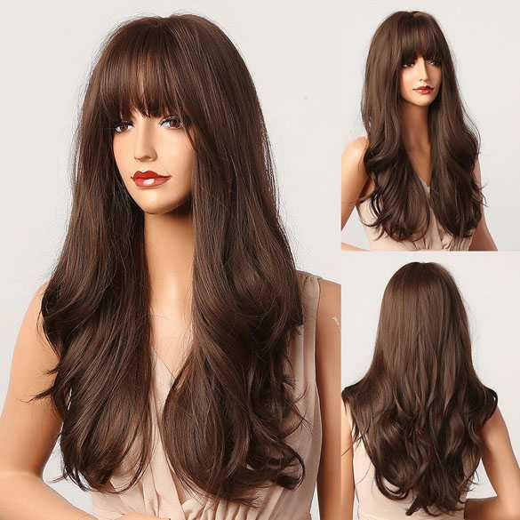Pruik medium brun lang haar met slagen model 5027