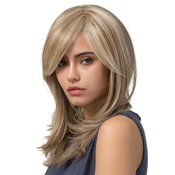 Pruik halflang steil haar in laagjes blondmix model Laura