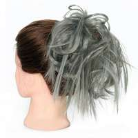 Warrige haar scrunchie met elastiek medium grijs