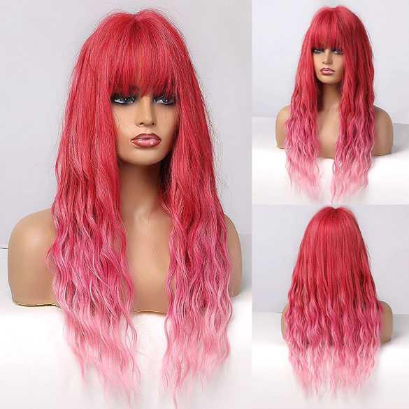 Pruik lang haar duo-color roze met wave slagen model 340