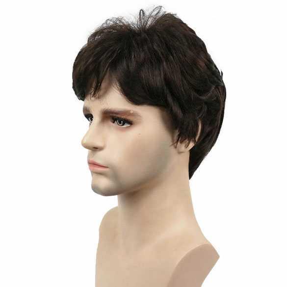 Mannenpruik kort model in laagjes bruin kleur 6