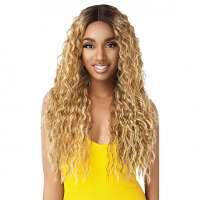 Pruik lang haar blond caramel met spiraalkrullen model Thora