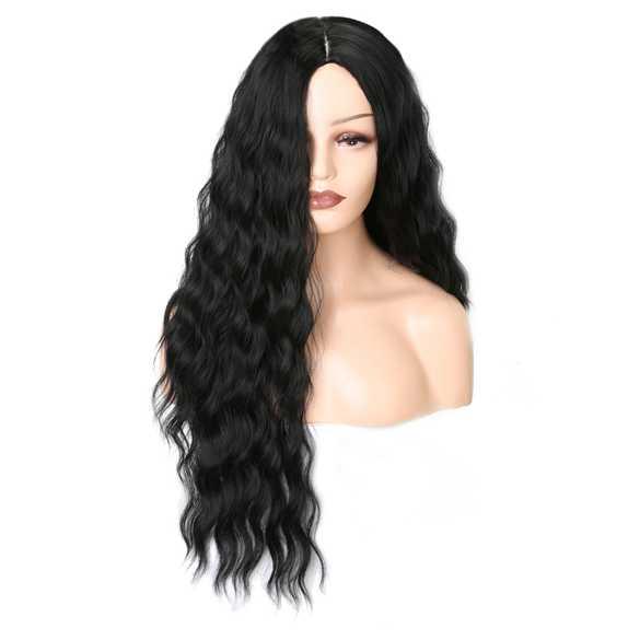 Mooie pruik met lang zwart haar en golvende slagen