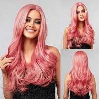 Luxe carnaval pruik poeder roze lang haar met krullen model 6035