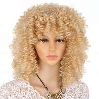Pruik schouderlang haar met blonde spiraalkrullen