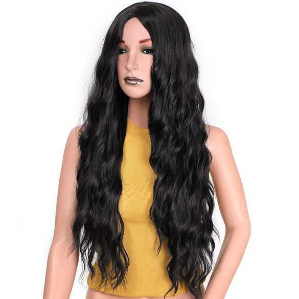 Pruik met lang zwart haar en golvende slagen