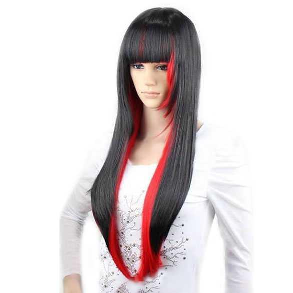 Gothic Halloween Vampier pruik lang steil haar zwart rood