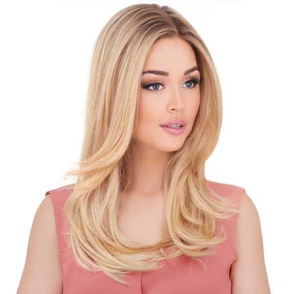 Swiss lace pruik lang steil blond haar model Mindy