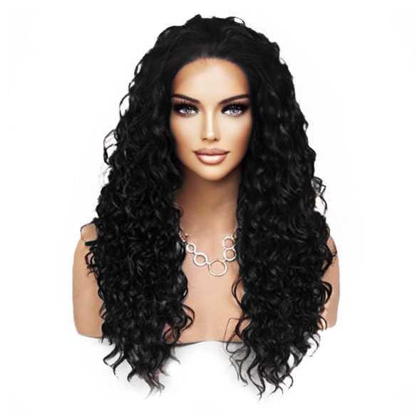 Lace front pruik zwart met krullen model Shania