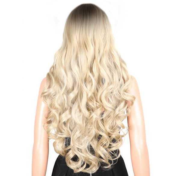 Sexy pruik lang krullend blond haar met donkere roots (B-keuze!)