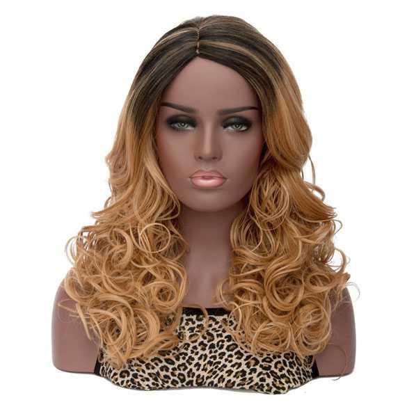 Ombre pruik lang krullend haar ginger blond mix