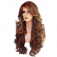 Lace pruik lang krullend haar model Sasha FS8-27-613