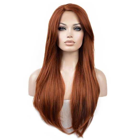Lace pruik lang steil koper kleur haar zonder pony model K017