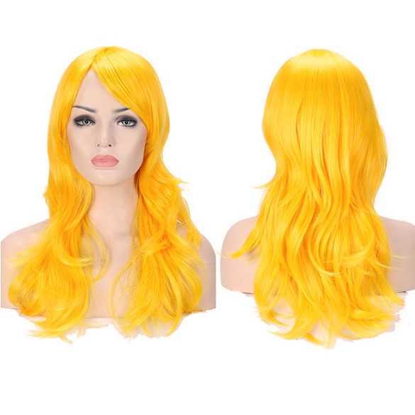 Pruik lang haar met grove slagen in de kleur Mango Geel