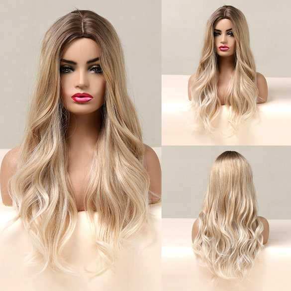 Pruik lang blond haar met slagen model 5126